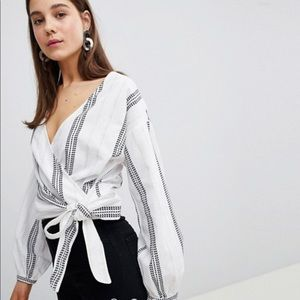 New Look Dash Stripe Tie Side Blouse